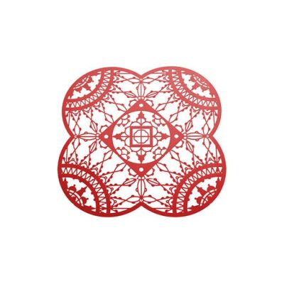 Italic Lace Petal Coaster - Set of 4 Red