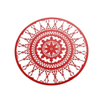 Italic Lace Round Coaster - Set of 4 Red