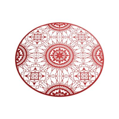 Italic Lace Round Placemat Red
