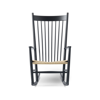 J16 Rocking Chair Oak black lacquered, Natural paper cord