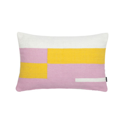 Jama-Khan Cushion Pink, Yellow & Ivory Rectangle Cushion