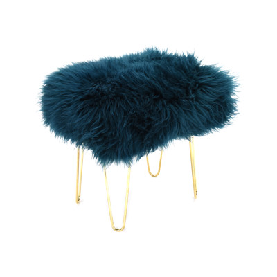 Judy Sheepskin Footstool  in Teal