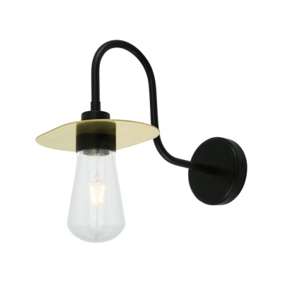 Kai Swan Neck Wall Light Powder Coated White & Polished Brass