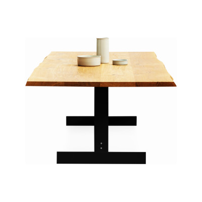 Kazimir Raw Dining Table Steel, White Pigmented, Oak, 360, Yellow Zinc - Plated