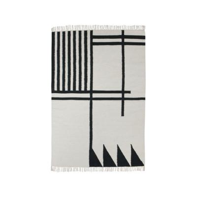 Kelim Rug, Black Lines - Large