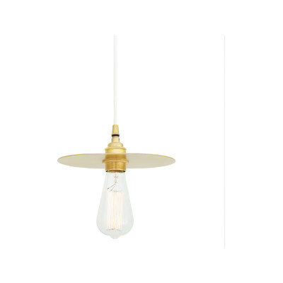 Kigoma Pendant Light Satin Brass, White Round Braided Fabric