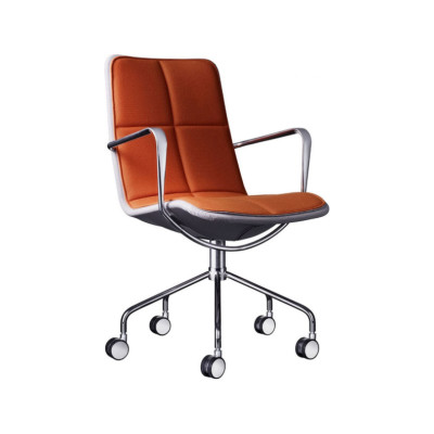 Kite Conference Chair Light Grey Net, White Steel, Main Line Flax Newbury, Without Armrest