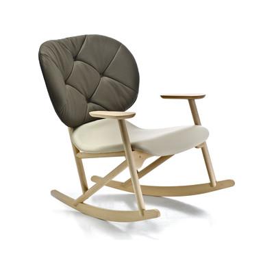 Klara Rocking Armchair with Button Tufted Beech natural, A7219 - Field 222 ecru
