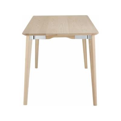 Lancaster Dining Table - Rectangular Polished Aluminium, Light Ash, 182.88cm