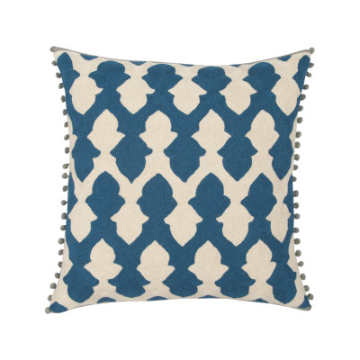 Lattice Cushion Teal & Ecru
