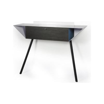 """Leaning sideboard """"Anlehnschrank 02 - Slate"""" Blue with oak wood legs oiled (= natural)"""