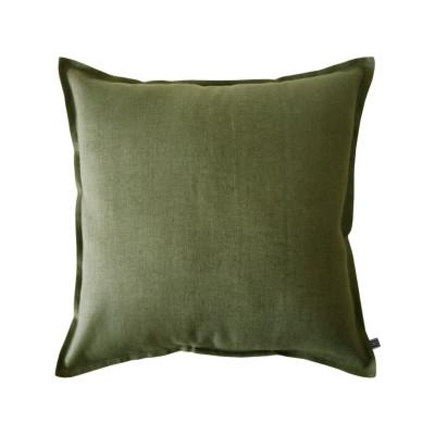 Linen cushion Moss green