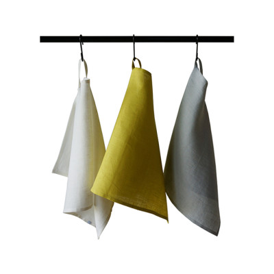 Linen tea towels Set Mustard