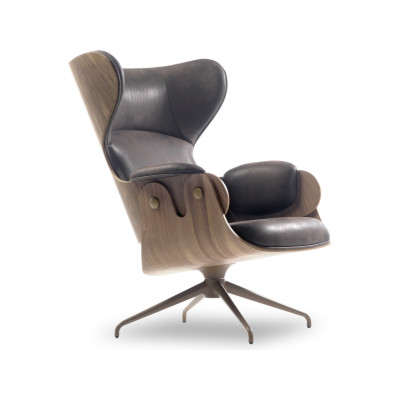 Lounger Armchair - Swivel Base Vintage Aged Camel V18, BD Barcelona - Black Stained Ash