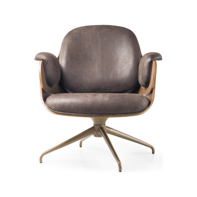 Low Lounger Armchair - Swivel Base Vintage Aged Camel V18, BD Barcelona - Black Stained Ash