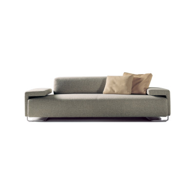 Lowland 3 Seater Sofa B0211 - Leather Oil cirè, Stainless Steel