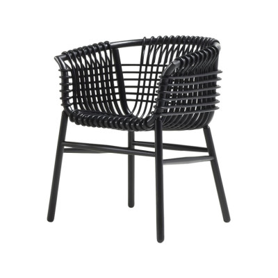 Lukis Armchair Black-Stained Rattan in Black Stained Wood, Small