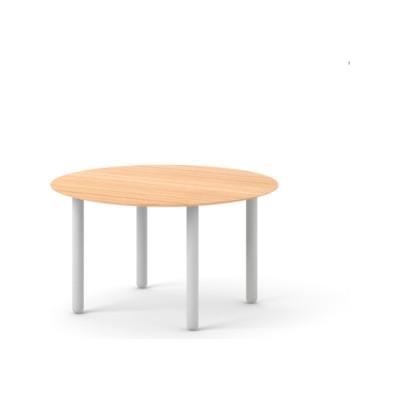 Maeda Dining Table, Round Super-Matt Oak, White Texturised Lacquered, 140