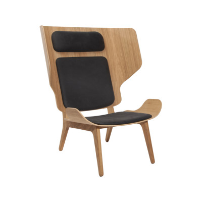 Mammoth Slim Lounge Chair Oak Black, Sørensen Ultra Leather Black - 41599