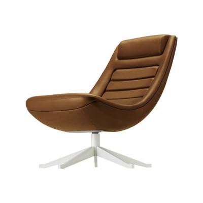 Manzù 090 Armchair Leather Pelle Frau Color System - B020, Polished Aluminium - AB