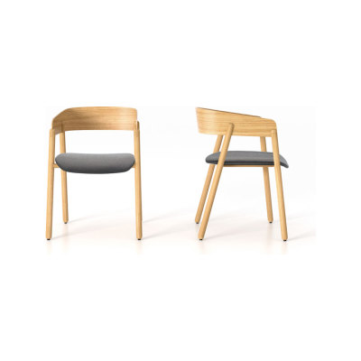 Mava Armchair, Upholstered Seat - Set of 2 Steelcut 2 110, White Open Pore Lacquered On Oak