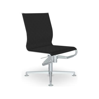 Meetingframe Lounge Chair 52 433 Leather Pelle Frau Color System - B004, Chromed Aluminium - CR
