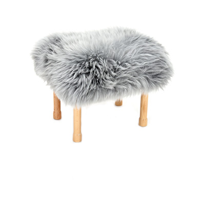 Megan Sheepskin Footstool Silver