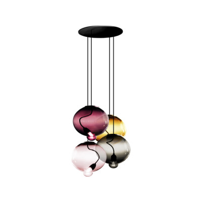 Meltdown Cluster Pendant Light With 4 Diffusers Amber