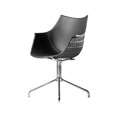 Meridiana Chair with Swivel Base Upholstered Chrome, Tigri - Arancione 5360
