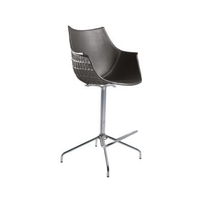 Meridiana Swivel High Stool Upholstered Chrome, Tigri - Arancione 5360