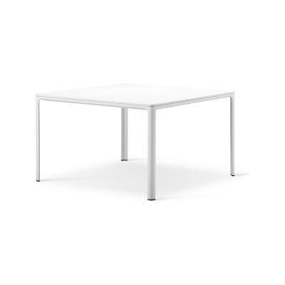 Mesa table Black linoleum, White painted aluminum, 160 x 90 x 73
