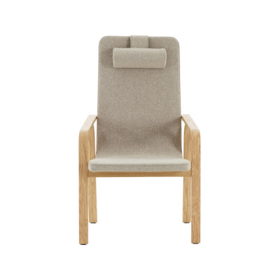 Mino High Back Easy Chair with Neck Cushion Beech Natural Lacquer, Elmo Nordic 00105