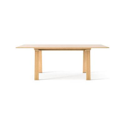 Mitis Dining Table, Rectangular Bronze Tempered Glass, White Open Pore Lacquered On Oak, 300cm