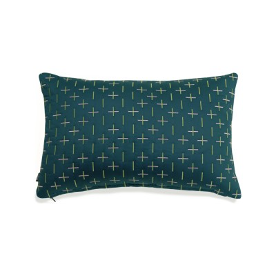 Modern Kantha Cushion Teal Rectangle Cushion 40 x 60cm
