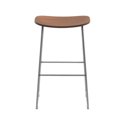 Morrison Stool Wooden Seat Frassino Ash Wood 113, 435 satined stainless steel, Medium