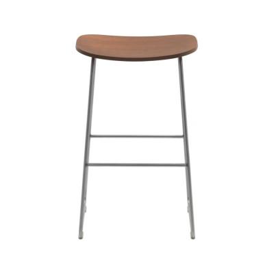 Morrison Stool Wooden Seat Frassino Ash Wood 113, 435 satined stainless steel, Medium