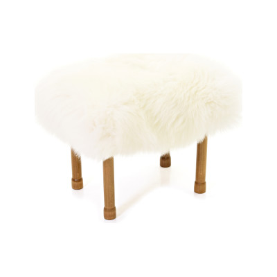 Myfanwy Sheepskin Footstool  Ivory