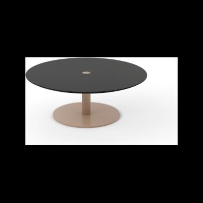 Núcleo Coffee Table, Round Beige Textured Metal (ral 1019), Dark Stained Walnut