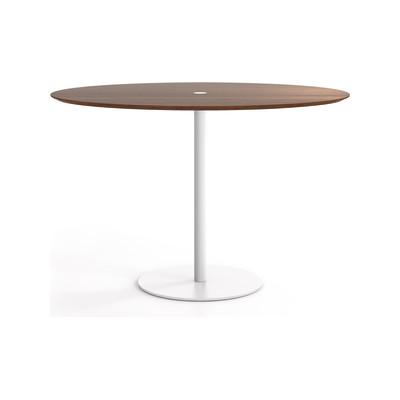 Núcleo Dining Table, Round Beige Textured Metal (ral 1019), Carrara Marble, 60