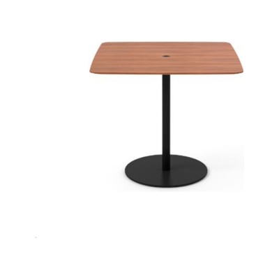 Núcleo Dining Table, Square Beige Textured Metal (ral 1019), Dark Stained Walnut, 60