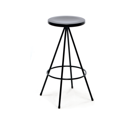 Nuta Bar Stool Outdoor, Black Frame and Seat, 75 cm