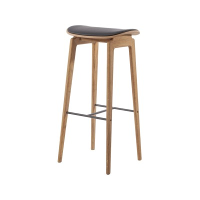 NY11 Upholstered Bar Stool Oak Black, Vidar 3 0123, Low