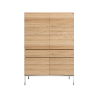 Oak Ligna Storage Cupboard Black Metal