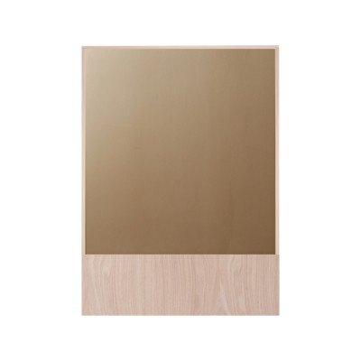 Offset Mirror Rectangle Amber Mirror, Oak
