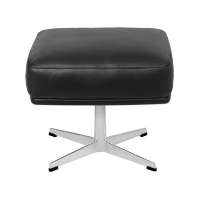 Oksen Footstool Extreme Leather Black, Satin polished aluminium