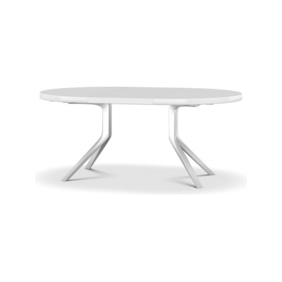 Oops Extensible Table L125-180 X D125, White lacquered aluminium, Satin-finish white lacquer, White