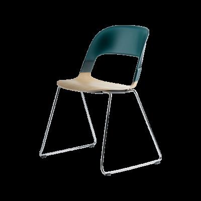 Pair Chair - sled base Green Coloured Oak Green Chrome