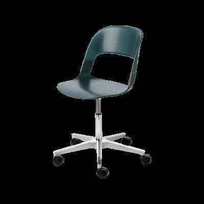 Pair Chair - star base Oak veneer Red Black Powder Coated