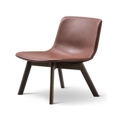 Pato Lounge Wood Base Chair Oak Black Lacquered, Nubuck 501 Light sand