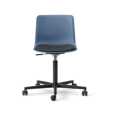 Pato Office Chair with Seat Upholstery Black Painted Steel, Berry, Nubuck 501 Light sand